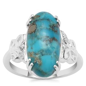 Bonita Blue Turquoise Ring with White Zircon in Sterling Silver 6.18cts