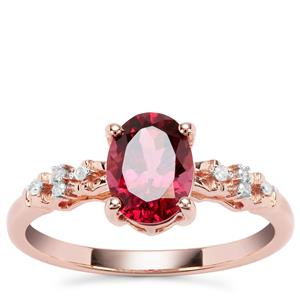 Morogoro Garnet Ring with Diamond in 9K Rose Gold 1.64cts
