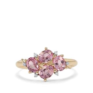 Sakaraha Pink Sapphire Ring with Diamond in 10K Gold 1.89cts