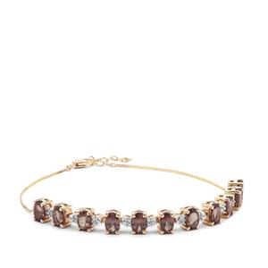Miova Loko Garnet Bracelet with White Zircon in 9K Gold 6.04cts