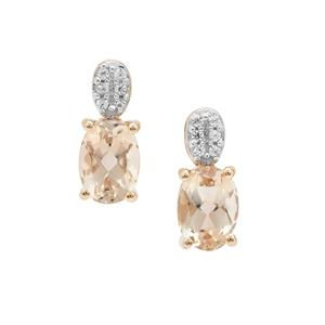 Padparadscha Oregon Sunstone & White Zircon 9K Gold Earrings ATGW 1.55cts