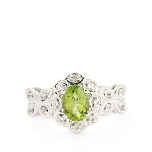 Changbai Peridot & White Topaz Sterling Silver Ring ATGW 1.67cts