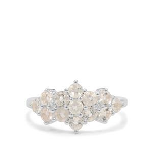 Plush Diamond Sunstone & White Zircon Sterling Silver Ring ATGW 1.40cts