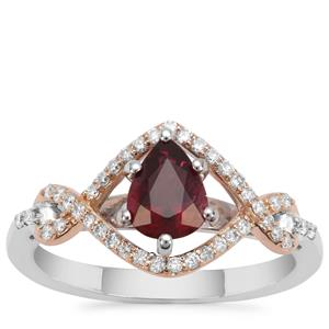 Nigerian Rubellite Ring with Diamond in 18K Two Tone Gold 0.89ct