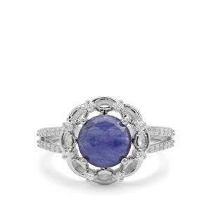 Rose Cut Sapphire & White Zircon Sterling Silver Ring ATGW 2.56cts (F)