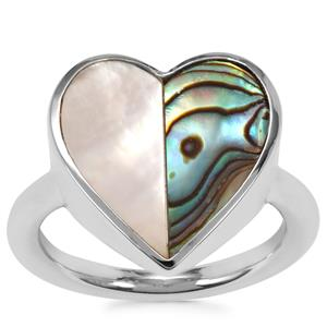Abalone Ring with Mother of Pearl in Sterling Silver (12.80mm x 6.50mm)