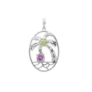 Moroccan Amethyst Pendant with Changbai Peridot in Sterling Silver 1.02cts