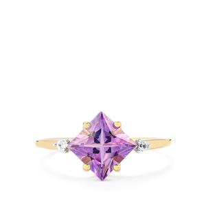 Moroccan Amethyst & White Zircon 9K Gold Ring ATGW 1.59cts