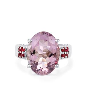 Rose De France Amethyst & Pink Tourmaline Sterling Silver Ring ATGW 8.36cts