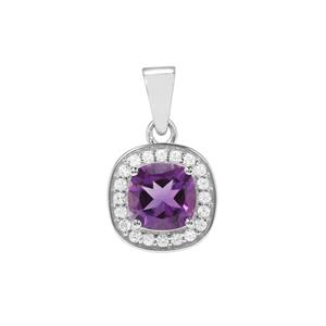 Zambian Amethyst Partywear Pendant with White Zircon in Sterling Silver 2.30cts
