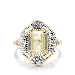 Minas Novas Hiddenite & White Zircon 9K Gold Ring ATGW 4.89cts