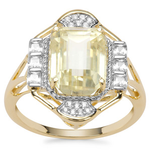 Minas Novas Hiddenite Ring with White Zircon in 9K Gold 4.89cts