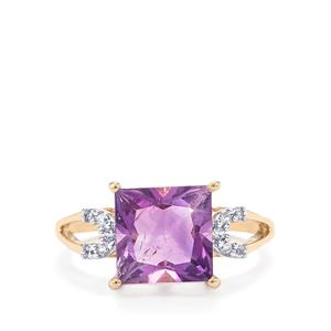 Moroccan Amethyst & White Zircon 10K Gold Ring ATGW 3.29cts