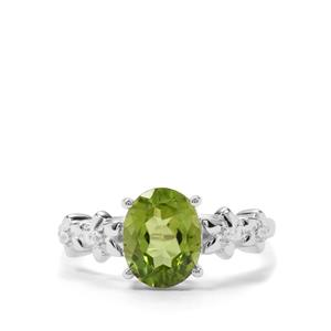 Red Dragon Peridot & White Zircon Sterling Silver Ring ATGW 2.06cts