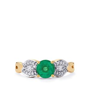 Ethiopian Emerald Ring with Diamond in 18k Gold 1.31cts