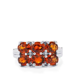 Cognac Zircon Ring in Sterling Silver 5.94cts