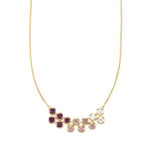 Zambian, Rose De France Amethyst Necklace with White Zircon in Gold Plated Sterling Silver 3.62cts