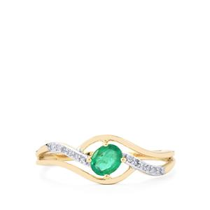 Zambian Emerald Ring with Diamond in 9K Gold 0.37ct
