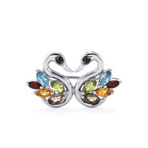 1.50ct Kaleidoscope Gemstones Sterling Silver Odette Brooch