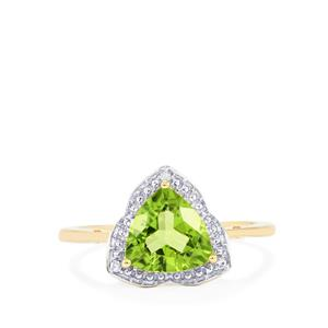 Changbai Peridot Ring with Diamond in 10k Gold 1.92cts