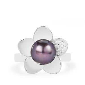 Kaori Cultured Pearl Sterling Silver Flower Ring (8.50mm)