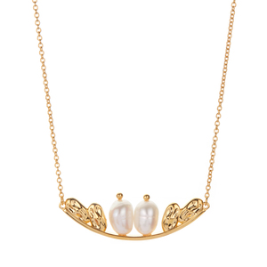 Kaori Cultured Pearl Necklace in Gold Tone Sterling Silver (9.50x7.00mm)