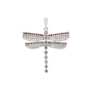 Champagne Diamond Dragon Fly Design Pendant with Cognac & White Diamond in Sterling Silver 0.77ct