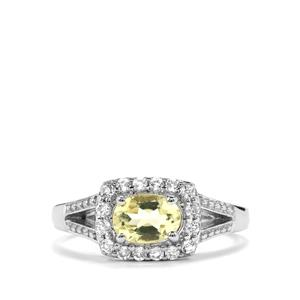Chartreuse Sanidine Ring with White Topaz in Sterling Silver 0.87cts