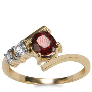 Burmese Spinel Ring with White Zircon in 10k Gold 1.35cts