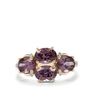 Mahenge Purple Spinel Ring with Diamond in 9K Gold 3.57cts