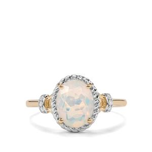 Ethiopian Opal Ring with Diamond in 10K Gold 1.09cts
