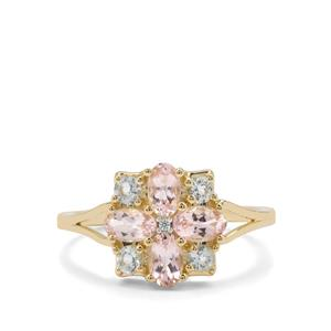 Aquaiba Beryl, Cherry Blossom™ Morganite & White Zircon 9K Gold Ring ATGW 1.08cts
