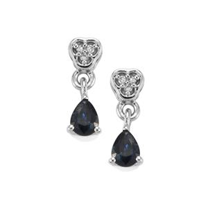 Nigerian Blue Sapphire & Diamond 9K White Gold Earrings ATGW 0.69cts