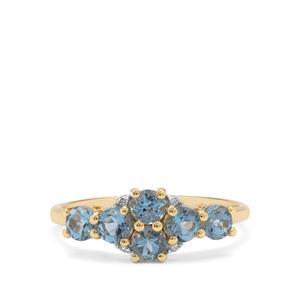 Nigerian Aquamarine & Diamond 9K Gold Ring ATGW 1cts