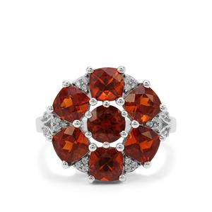 Madeira Citrine & White Zircon Sterling Silver Ring ATGW 4.09cts
