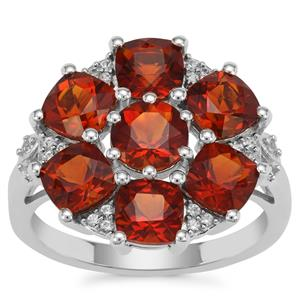 Madeira Citrine Ring with White Zircon in Sterling Silver 4.09cts