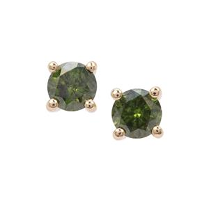 Green Diamond Earrings in 9K Gold 0.37ct