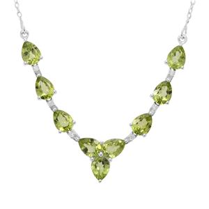 Red Dragon Peridot Necklace with White Zircon in Sterling Silver 11.09cts
