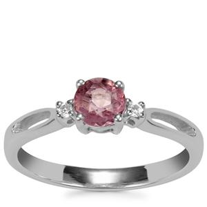 Natural Pink Fluorite Ring with White Topaz in Sterling Silver 0.63ct