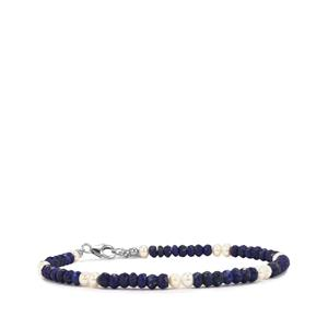 Kaori Cultured Pearl & Lapis Lazuli Sterling Silver Anklet