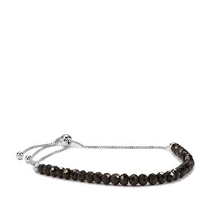 Black Spinel Graduated Bead Slider Bracelet in Sterling Silver 15.50cts