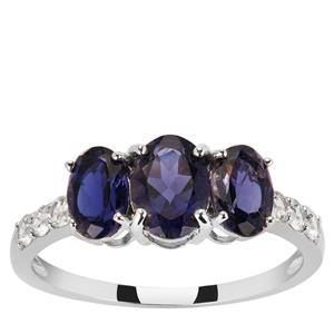 Iolite Ring with White Zircon in 9K White Gold 1.70cts