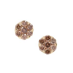 Cape Champagne Diamond Earrings in 9K Gold 0.60ct