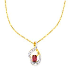 Malawi Garnet Pendant Necklace with White Zircon in Gold Vermeil 1.26cts