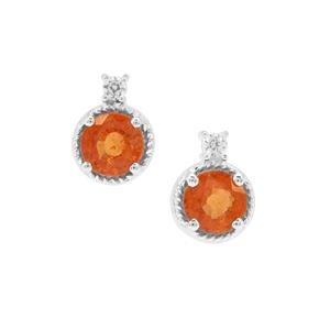 Mandarin Garnet Earrings with White Zircon in Sterling Silver 1.75cts