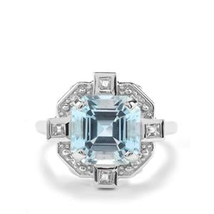 Asscher Cut Sky Blue Ring with White Topaz in Sterling Silver 6.73cts