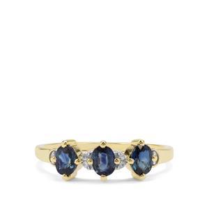 Australian Blue Sapphire & White Zircon 9K Gold Ring ATGW 1cts