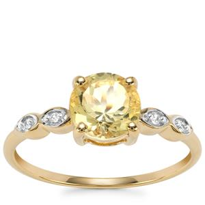 Chartreuse Sanidine Ring with White Zircon in 10k Gold 1.3cts