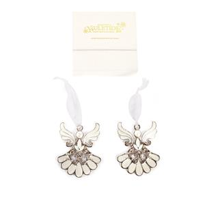 Christmas Collection - Set of 2 Guardian Angel Decorations with Freshwater Pearl