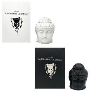 Gem Auras Ceramic Zen Buddha Head Oil Burner - Available in .01=White / .02= Black